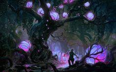 fantasy forest magic purple lights dark