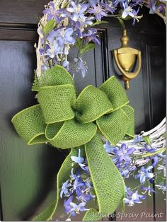 Spring wreathe with apple green burlap ribbon from WalMart! White Spray Paint, Flea Market Finds, Burlap Ribbon, Traditional Design, Door Wreaths, Create, Simple, Spring, Blog
