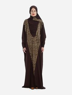 Prayer Dress Isdal Arabic Calligraphy Print Brown With Hijab