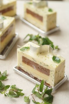 Gateau Aromatique.  I think that it is a mint and chocolate/white chocolate cake, but I'm not sure.  Irregardless, I love mint and chocolate.  Or maybe it's lemon balm?  I'm not a gardener!  [From Patisserie Plaisir]
