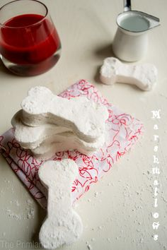 Blood and bones! Bloody red hot cocoa and bone marshmallows for Halloween