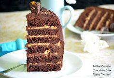 Tort de ciocolata cu caramel sarat Salted Caramel Chocolate Cake, Chocolate Cakes, Sugar Rush, Allrecipes, Vanilla Cake, Tiramisu, Sweet Treats, Goodies, Healthy Eating