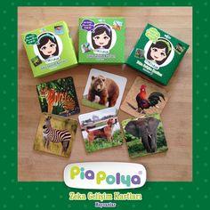 """"""" Pia Polya Zeka Gelişim Kartları Hayvanlar Seti """"  Pia Polya Zeka Gelişim Kartları 12-48 ay çocuklar için tasarlanmış, gerçek hayvan fotoğraflarından oluşmaktadır.  İçeriği: Her kutu içerisinde 118mm x 118mm, kalın mukavva ve selefon kaplıdır. Set 3 kutudan oluşmaktadır. Her kutuda 12 karakter, 12 adet zeka geliştirici oyun kartı bulunur. Toplam 36 adet oyun kartıdır."""