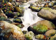 pbigRocky Stream/bigbrAvailable in:br*Card: $3.50   *8x10: $20   *11x14: $30/p Watercolor Water, Watercolor Landscape, Landscape Art, Watercolor Paintings, Acrylic Paintings, Future Artist, Rock Waterfall, Rock And Pebbles, Art Education