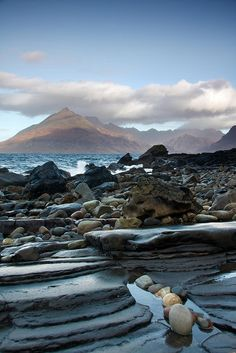 Looking Over To The Cuillin Mountains From Elgol On The Isle Of Skye, Inner Hebrides, Scotland.