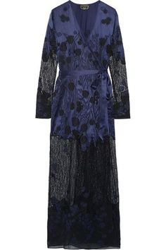Agent Provocateur - Anissa Appliquéd Silk-satin And Lace Robe - Midnight blue - M/L