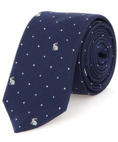 Paul Smith Navy Rabbit and Spot Silk Tie