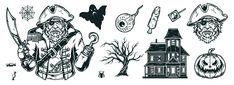 Monochrome Halloween vector design illustrations by DGIM Studio.