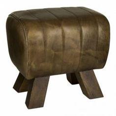 PTMD Poef Raw Leather Brown Met Poot