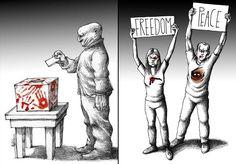Mana Neyestani é um famoso cartunista nascido no Teerã, capital do Irã. Formado em arquitetura, ele começou a desenhar em 1989 e já trabalhou para grandes publicações relacionadas a política, economia e cultura. Um de seus desenhos causou um grande protesto e foi responsável pelo fechamento do jornal onde ele trabalhava. Por causa disso, foi preso em 2006 e ficou confinado em uma solitária.Hoje vive em Paris como membro do ICORN,uma organização que ajuda refugiados que tem o seu direito de…