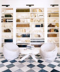 floor-to-ceiling bookshelves and checkerboard tiles