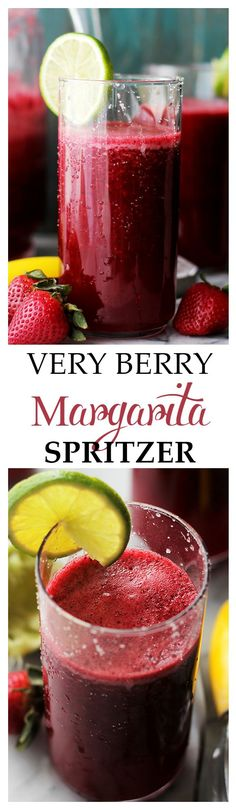 Very Berry Margarita Spritzer - A refreshing and delicious twist on the classic Margarita made with fresh berries, daiquiri mix and seltzer water. This is the perfect drink for your summer parties and gatherings. Get the recipe on diethood.com