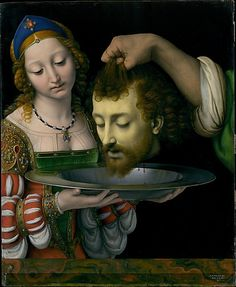 Salome with the Head of Saint John the Baptist  Andrea Solario  (Italian, Milan ca. 1465–1524 Milan)  Medium: Oil on wood Dimensions: 22 1/2 x 18 1/2 in. (57.2 x 47 cm)