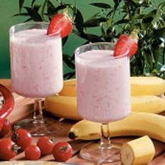 Sweet Fruit Smoothies Recipe: sweetened condensed milk, yogurt, strawberries, pineapple, banana, ice