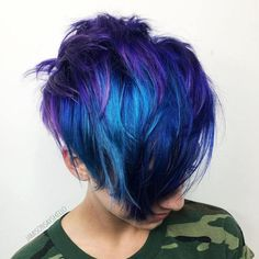 Blue And Purple Long Layered Pixie