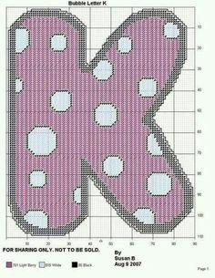BUBBLE LETTER K by SUSAN B.                              … Plastic Canvas Letters, Plastic Canvas Crafts, Bubble Letter K, Letter A Crafts, Craft Letters, Alphabet And Numbers, Alphabet Letters, Baby Name Letters, Different Stitches