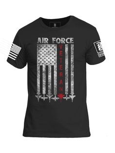 ccaa64915556 Battleraddle Air Force Veteran White Sleeve Print Mens Cotton Crew Neck T  Shirt