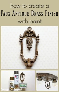 A 1920 s light fixture was restored with a faux antique brass finish. Learn which products you ll need to create an antique brass look on hardware light fixtures decor accents and more! Click through for the full tutorial. Bronze Spray Paint, Paint Brass, Brass Mirror, Brass Lamp, Mirrors, Mirror Painting, Diy Painting, Faux Painting, Antique Decor