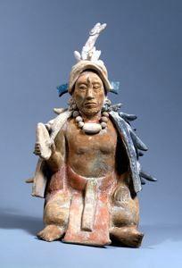 Seated Figurine Maya, Late Classic 650-800 CE ceramic