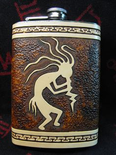 Hand Tooled Leather Kokopelli Flask by JPsLeather on Etsy