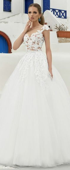 NEW! Delicate Tulle Sheer Jewel Neckline See-through A-Line Wedding Dress With Lace Appliques & Beadings