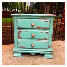 Antiqued blue small set of drawers: maybe DIY with thrift find?