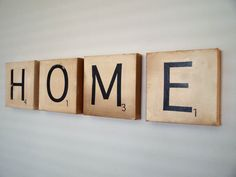 """Canvas Art - HOME - Vintage Inspired Scrabble Tiles on Canvas 8"""" x 8"""""""