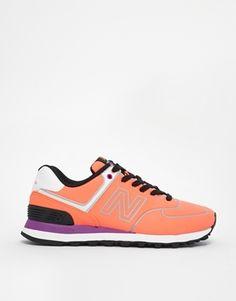 New Balance 574 Neon Orange Sneakers - Orange on shopstyle.com