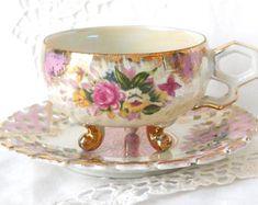 lusterware tea cup and saucer vintage footed teacup pearlized tea cup pink luster tea cup 105 Vintage Tea Parties, Tea Art, China Tea Cups, Rose Tea, My Cup Of Tea, Tea Service, Tea Cup Saucer, Teapots, Tea Time
