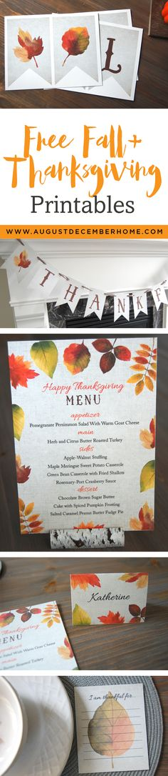 "Free Fall & Thanksgiving Printable Banners, Menu, Place card and ""I am Thankful for..."" card. Beautiful Thanksgiving banner, menu, placecards and table decor to make your thanksgiving table warm and inviting this season. Try it out and share your pictures. I love seeing how my printables look in your homes."