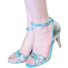 Qupid Mint/teal Medium Heels Glitter Open Toe Prom Dress Sandals Quilicia-14  Sale:$31.99