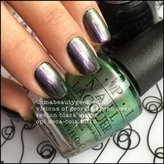 OPI Visions of Georgia Green over Revlon Black Magic. OPI Coca Cola 2015. All da swatches at www.imabeautygeek.com