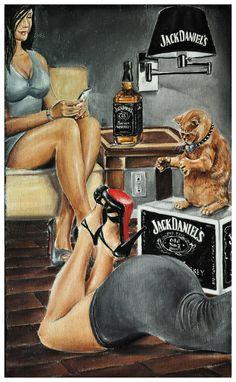 JEREMY WORST Dat Ass Original Artwork Signed Framed Print jack Daniels on Etsy, $50.00