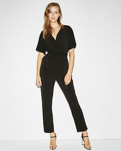 Express Jersey Surplice Jumpsuit Casual Office Outfits for women Miss Louie