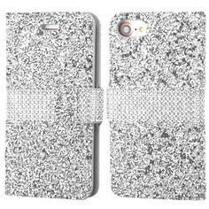 Apple iPhone 7 Silver Round Brilliant Diamond Wallet Case Cover Diamante Folio Rhinestones Protector Accessories