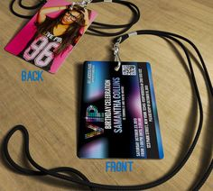 21st Birthday Invitations - 21st or any Birthday Celebration - VIP Invitations Actual PVC Cards with Lanyards
