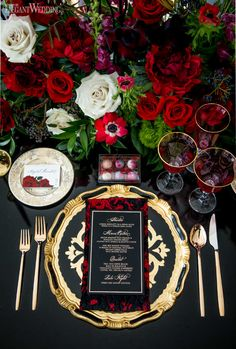 Black and Red Wedding Table Setting, Black and Red Wedding Table Setting, Red Rose Centerpieces Red Table Settings, Elegant Table Settings, Wedding Table Settings, Table Wedding, Place Settings, Setting Table, Wedding Table Decorations, Wedding Themes, Red And Black Table Decorations