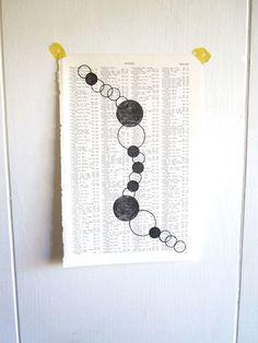 Circles, Black and White Handmade Print, Print to Frame, Vintage Wedding, Vintage Map Atlas, Home Decor, Circle Decor, Connected Rings