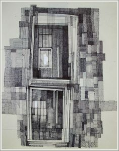 Window II, ink and gauche on paper, by Megan McGlynn, part of her 'Ink and Memory' series
