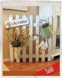 picket-fence-welcome.jpg × - picket-fence-welcome.jpg × The Effective Pictures We Offer You About iron fence A qua - Picket Fence Crafts, Diy Fence, Picket Fences, Fence Ideas, Fence Post Crafts, Porch Ideas, Fence Board Crafts, Picket Fence Garden, Picket Gate