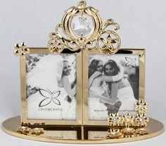 Bilderrahmen mit Hochzeitskutsche goldfarben MADE WITH SWAROVSKI ELEMENTS - premium-kristall