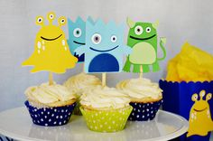 Our Little Monster Cupcake Toppers by http://pinwheellane.etsy.com