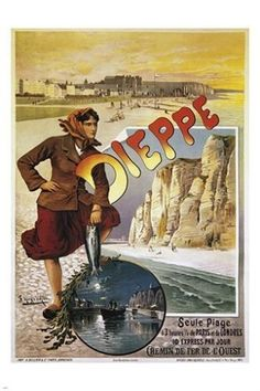 Dieppe poster by Hugo d-Alesi. Lithography from ca Parisposters only offers original vintage posters. Best Vacation Destinations, Best Vacations, Vintage Advertisements, Vintage Ads, Vintage Beach Posters, Railway Posters, Ville France, Unique Poster, Train Travel