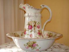 lavatorio y jarra en porcelana inglesa