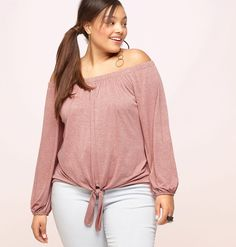 e296686debfa7 Shop new summer style with tops like our plus size Tie Front Off the  Shoulder Top