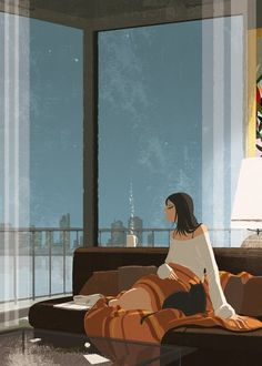 Girl, Black Cat, Tea and Relax - The Art Of Animation, by Matthieu Forichon Illustration Sketches, Illustrations, Heart Illustration, She And Her Cat, Pascal Campion, The Last Summer, Coffee Art, Coffee Shop, Cat Art