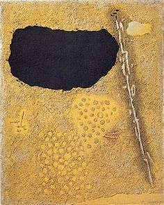 WILLI BAUMEISTER 1954 abstract painting with lines and a black form on sand-like gray-brown ground