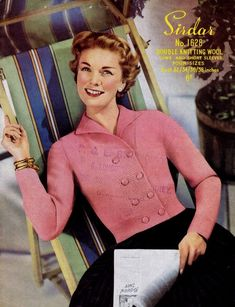DK weight. PDF Knitting Pattern for Ladies Retro Double Breasted Jacket from the 1950's