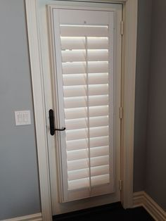 With an egg-shaped or round knob style handle, we can build a straight shutter panel and frame without a cut-out. French Door Shutters, French Doors Bedroom, Window Shutters, Shutter Doors, Door Design, Glass Door, Tall Cabinet Storage, Blinds, Windows