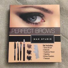 Perfect Brows Set!! Never used!! Perfect Brows Max Studio!   - Everything You Need to Create Perfect Brows - Set Includes:  1 Brow Brush 3 Stencils 1 Eyebrow Pencil,  1 Spooley 3 Brow Powders 1 Tweezer  Perfect for travel! If you have any questions feel free to ask! Max Studio Makeup Eyebrow Filler
